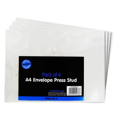 A4 Press Stud Envelopes Wallets - Pack Of 4 image number 1