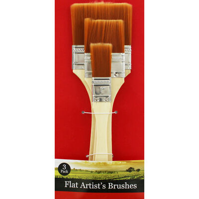 Wide Flat Paint Brush Set image number 1