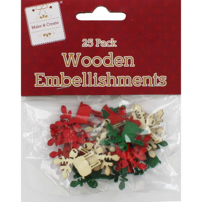 Wooden Deer Embellishments Pack of 25