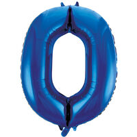 34 Inch Blue Number 0 Helium Balloon