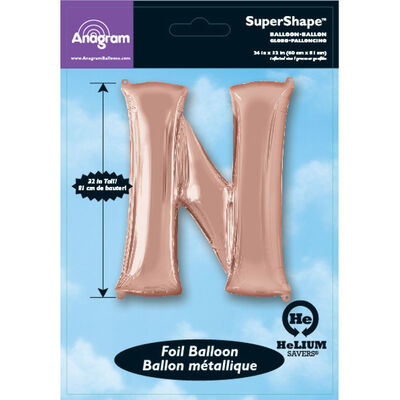 34 Inch Light Rose Gold Letter N Helium Balloon image number 2