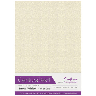 A4 Snow White & Hint of Gold Card: 10 Sheets image number 1