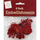 Red Felt Reindeer Embellishments - 6 Pack image number 1