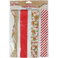 100 Large Self-Adhesive Festive Paper Chains - Assorted