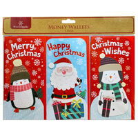 Assorted Christmas Money Wallets: Pack of 3