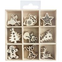 Wooden Embellishments Box: Set of 45