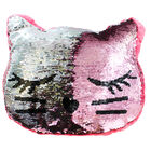 Reversible Sequin Kitten Cushion image number 3
