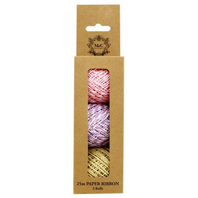 25m Pastel Paper Ribbon - 3 Rolls image number 2