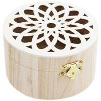 Wooden Box With Floral Lid