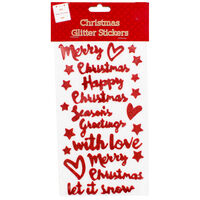 Christmas Glitter Sentiment Stickers - Assorted