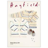 Hayfield Baby Bonus DK: Striped Cardigan Knitting Pattern 5423