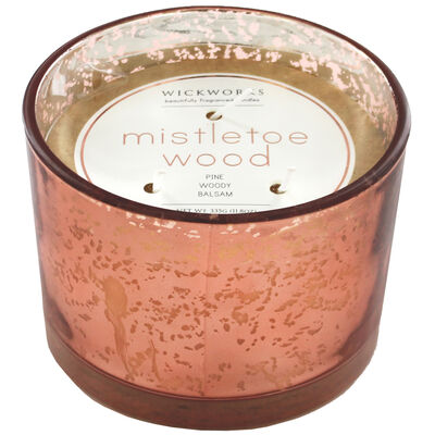 Rose Gold 3 Wick Mistletoe Wood Scented Speckled Glass Candle image number 1