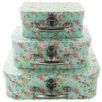 Rose Print Storage Suitcases - Set Of 3