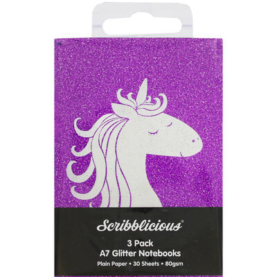 A7 Glitter Unicorn Notebooks - Pack of 3 image number 1