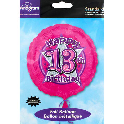 18 Inch Pink Happy 13th Birthday Foil Helium Balloon image number 2
