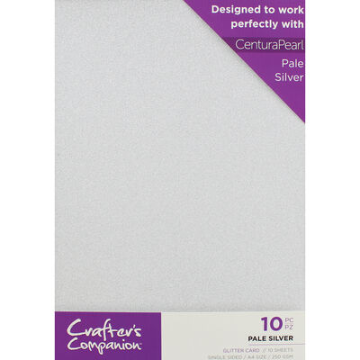 Crafters Companion Glitter Card 10 Sheet Pack - Pale Silver image number 1