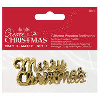 Gold Glitter Wooden Merry Christmas Embellishments: Pack of 6