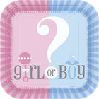 Gender Reveal Small Square Paper Plates - 10 Pack image number 1