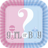 Gender Reveal Small Square Paper Plates - 10 Pack