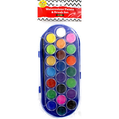 Colour Crazy 22 Watercolour Paints and Brush Set image number 3