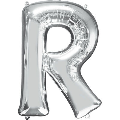 34 Inch Silver Letter R Helium Balloon image number 1