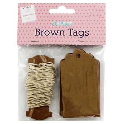 Brown Square String Tags: Pack of 20 image number 1