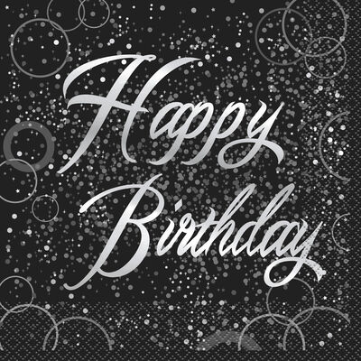 Black Silver Happy Birthday Paper Napkins - 16 Pack image number 1