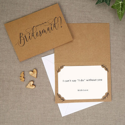 3 Kraft Bridesmaid Cards with Envelopes image number 4