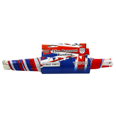 Red, White and Blue 25m Plastic Pennant Bunting image number 1