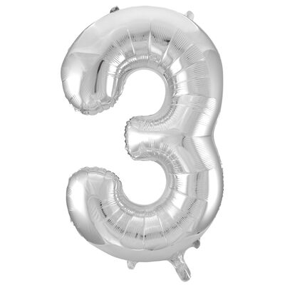 34 Inch Silver Number 3 Helium Balloon image number 1