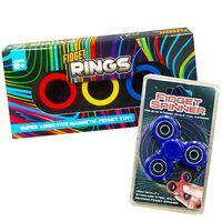 Magnetic Fidget Rings Pack of 3 Assorted & Fidget Spinners Bundle