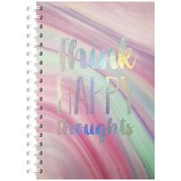 A5 Wiro Think Happy Thoughts Lined Notebook