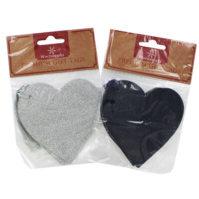 6 Premium Glitter Heart Gift Tags - Assorted image number 3
