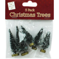 Frosted Christmas Trees: Pack of 5
