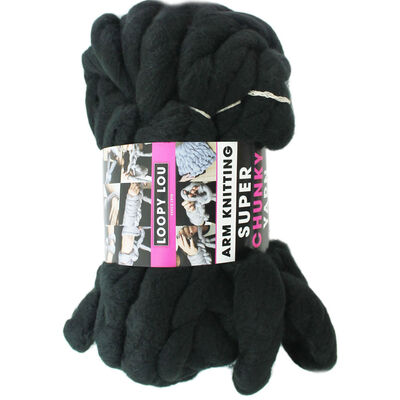 Loopy Lou Super Chunky Black Yarn - 250g image number 1