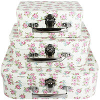 Floral Storage Suitcases - Set Of 3