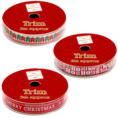 Christmas Ribbon Trim: Assorted 3m image number 2
