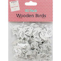 60 Wooden Birds - White