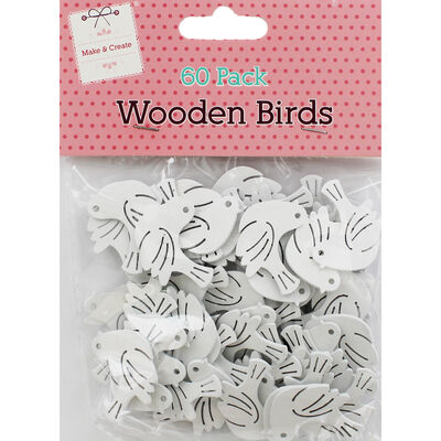 60 Wooden Birds - White image number 1