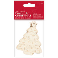 Christmas Tree Etched Wooden Tags: Pack of 4