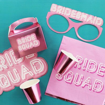 Pink Bride Squad Paper Cups - 8 Pack image number 4