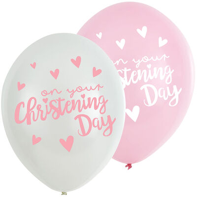 Pink Christening Day Latex Balloons - 6 Pack image number 1