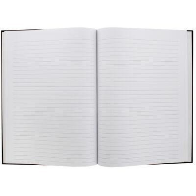 A4 Case Bound Plain Black Lined Notebook image number 2