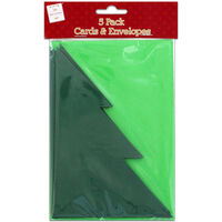 Christmas Tree Cards And Envelopes: Pack of 5