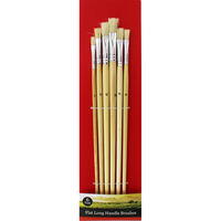 Flat Long Handle Paint Brush Set - 6 Pack
