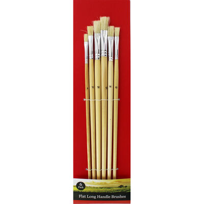 Flat Long Handle Paint Brush Set - 6 Pack image number 1