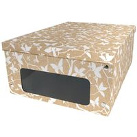 Kraft White Floral Under Bed Collapsible Storage Box