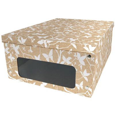 Kraft White Floral Under Bed Collapsible Storage Box image number 1