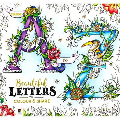 A to Z Beautiful Letters Colouring Book & Scribblicious Fine Line Coloured Pens Bundle image number 3