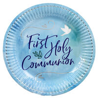 Blue First Holy Communion Paper Plates - 8 Pack